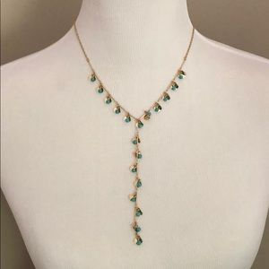 Rose Gold Tone Turquoise Beaded Necklace